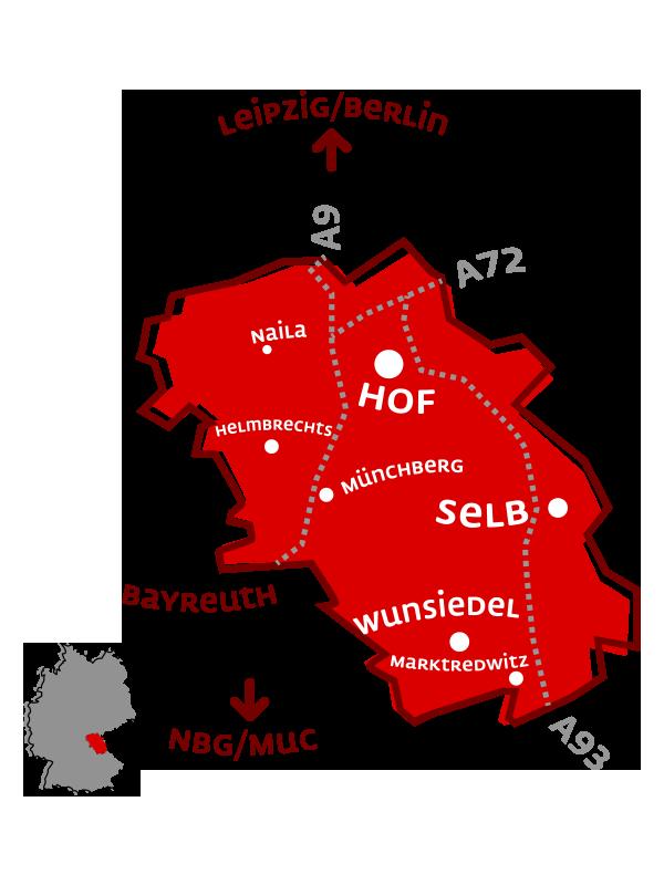 Zu sehen ist die Zentrale Lage Hochfrankens auf einer Karte
